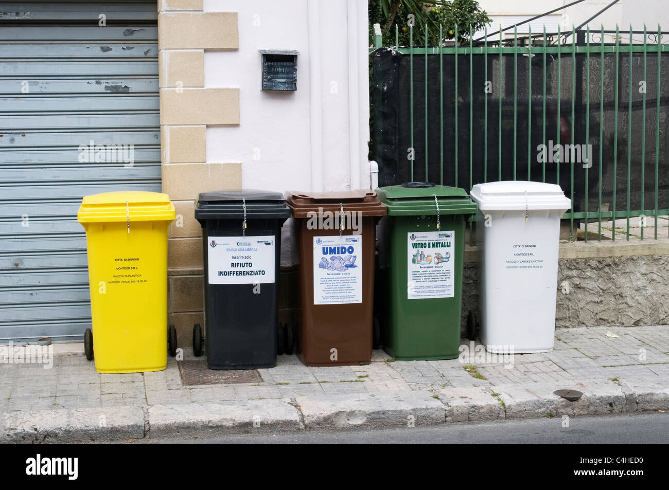 recycling recycle bin bins trash can cans sorted separated waste separate sort sorted rubbish - Stock Image