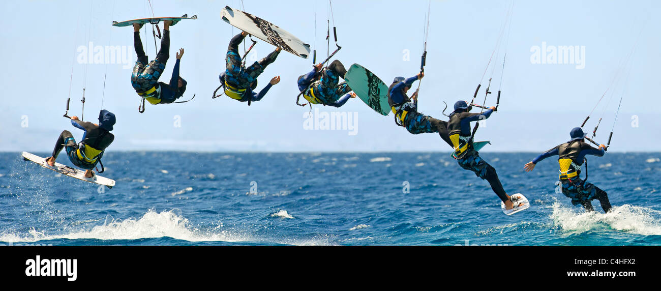 A sequential 7 image view showing the movement of a kitesurfer in the air at the resort of Eilat in Israel. - Stock Image
