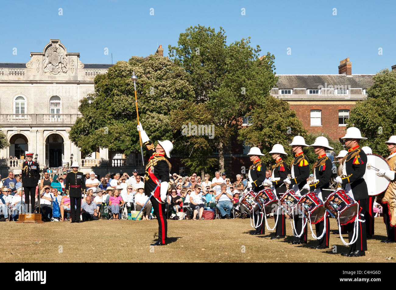 photo royal marching village stock gathering drum pipe of massed at scotland braemar a the with major bands games