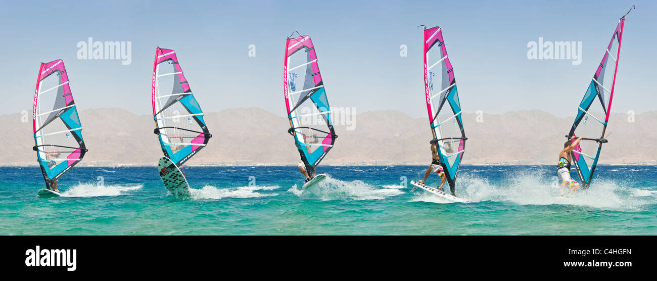 A sequential 5 image view showing the movement of a windsurfer performing tricks on the red sea at the resort of - Stock Image