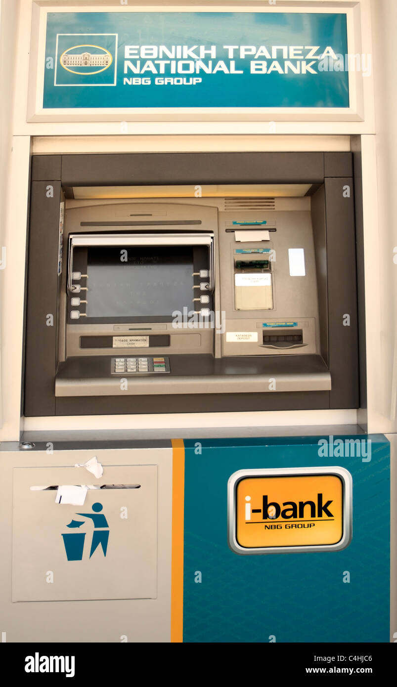 Greek ATM Greece EU European Union Europe - Stock Image