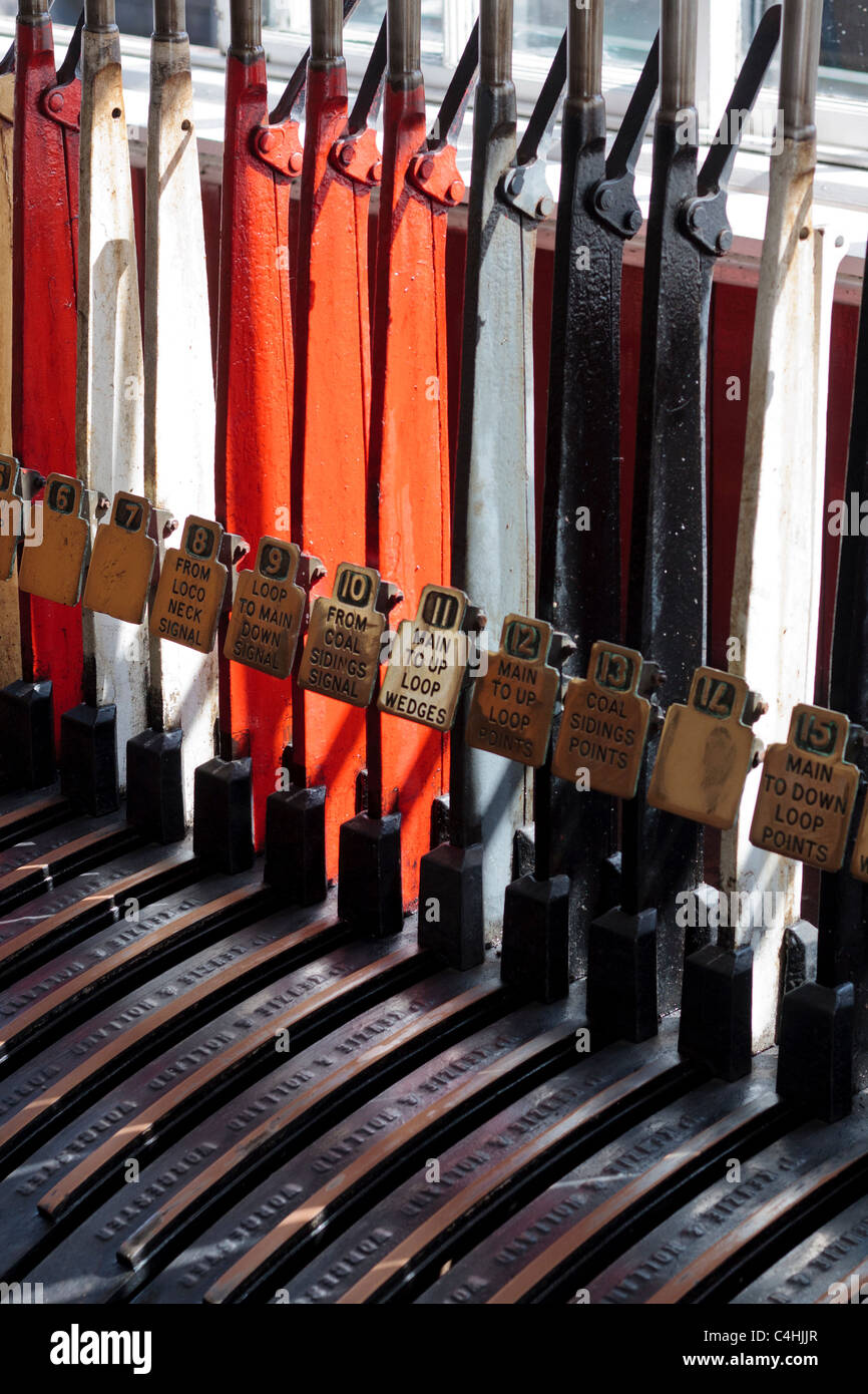 Signal levers in a rail signal box at Beamish museum, durham, England - Stock Image