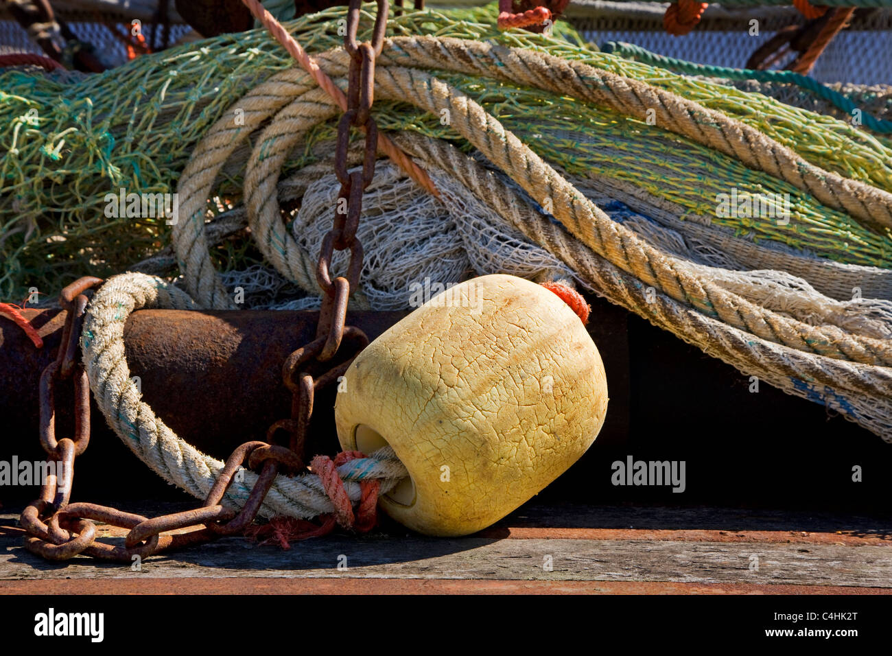 Fishing net at the Yerseke harbour, Zeeland, the Netherlands - Stock Image