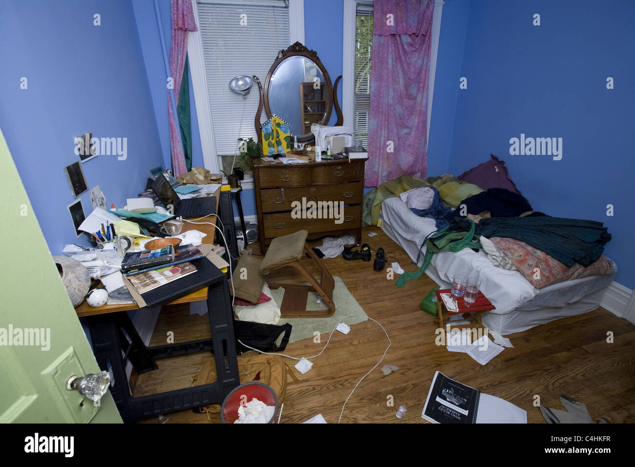 Messy room of a colleg...