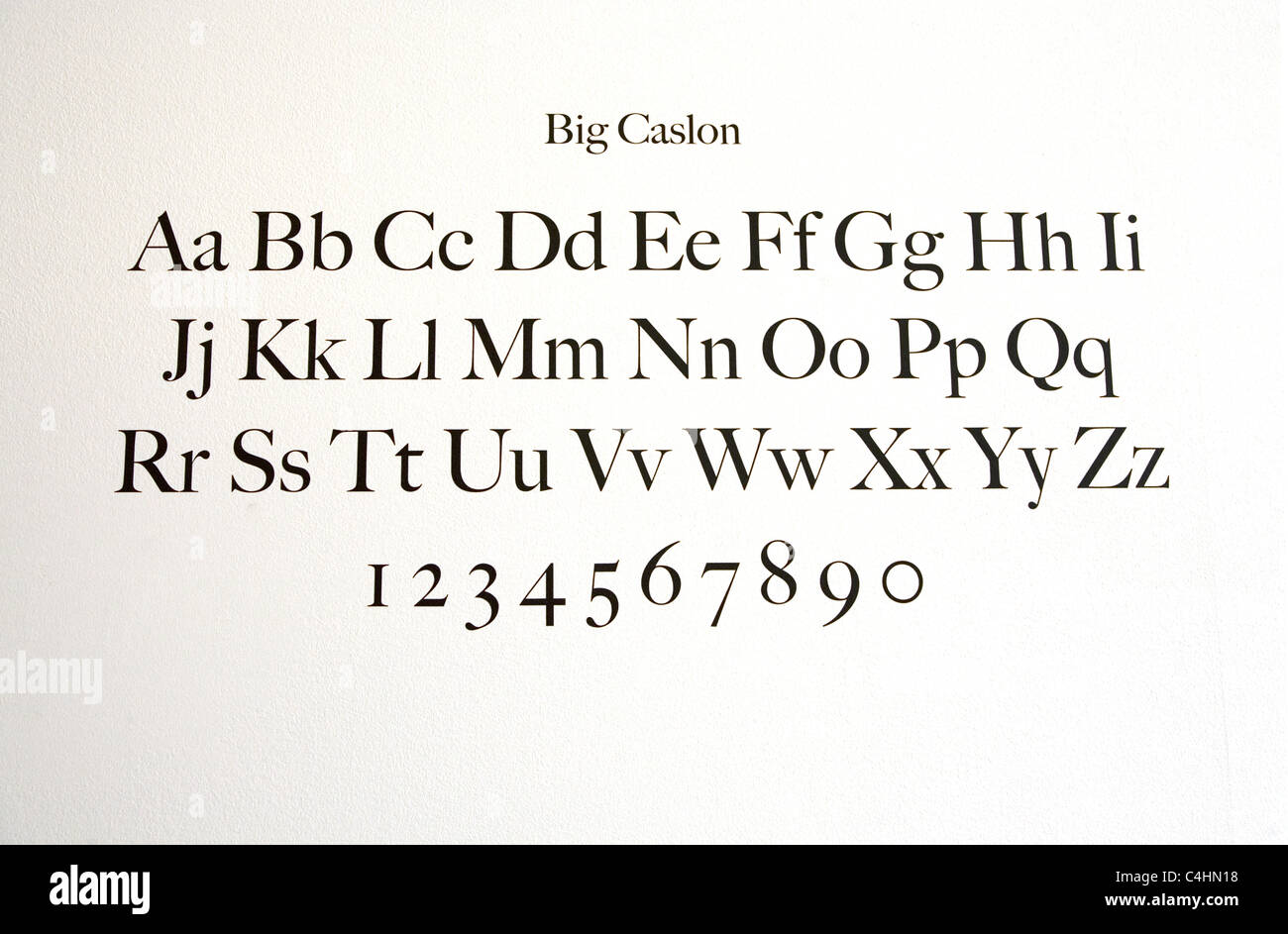 Big Caslon Type Face on display at MOMA, The Museum Of Modern Art in NYC. - Stock Image