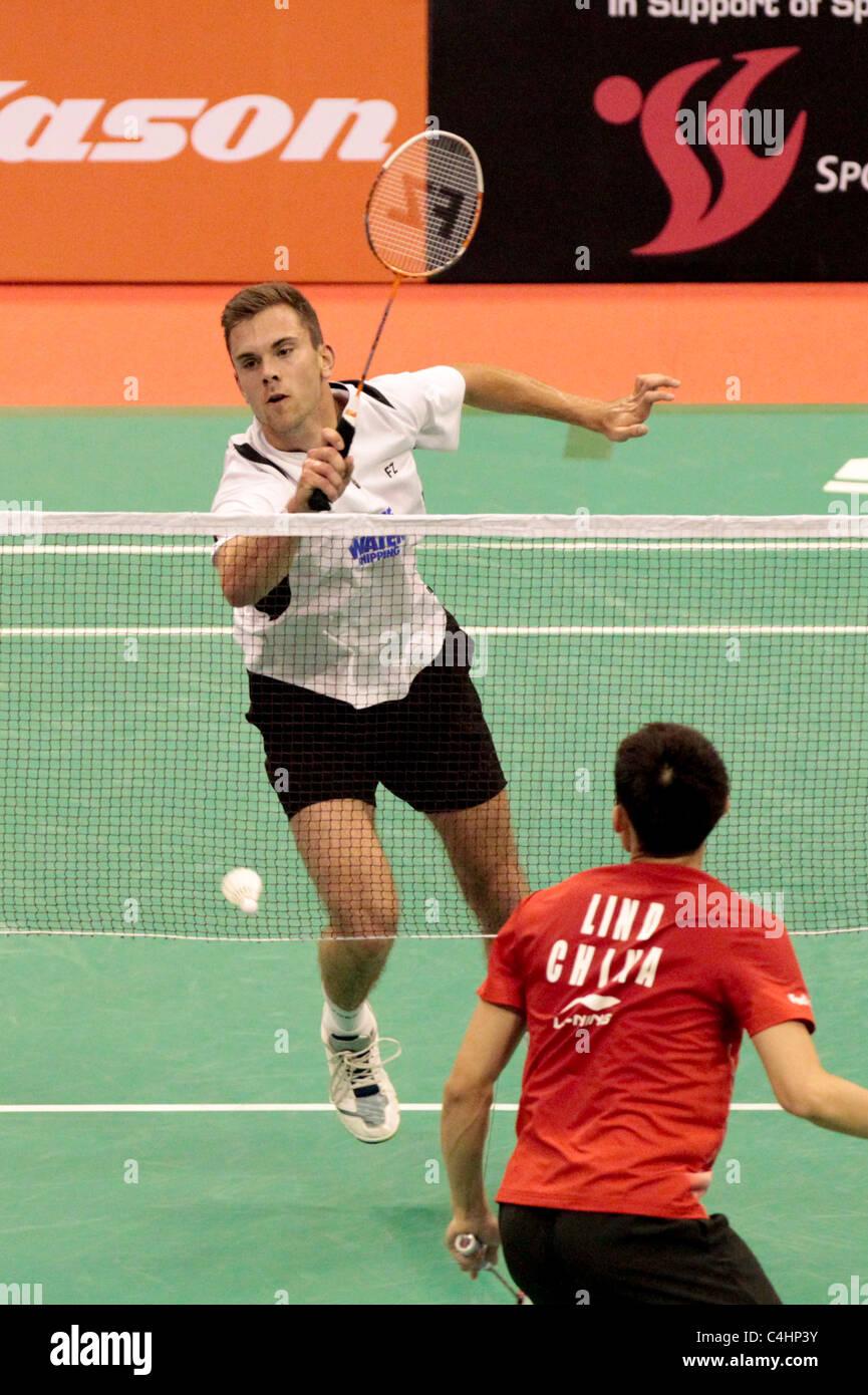Jan O Jorgensen of Denmark during his Men's Singles Round 2 match, Li-Ning Singapore Open 2011. Stock Photo