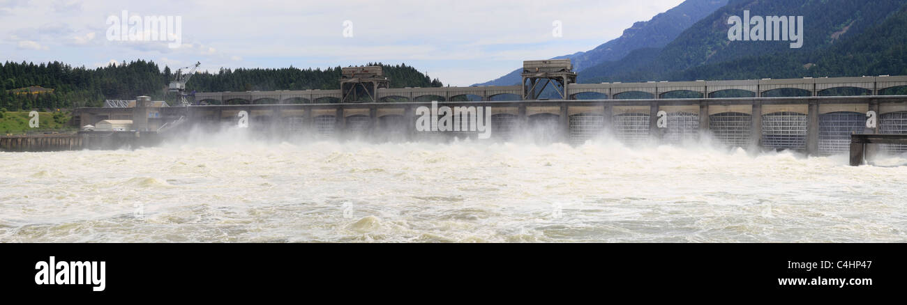 Bonneville Lock and Dam National Historic Landmark Panorama Stock Photo
