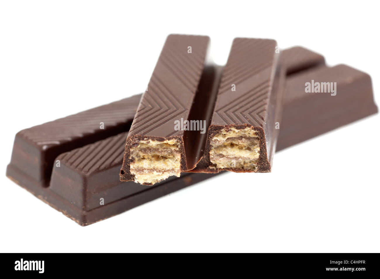 Dark chocolate covered wafer fingers - Stock Image