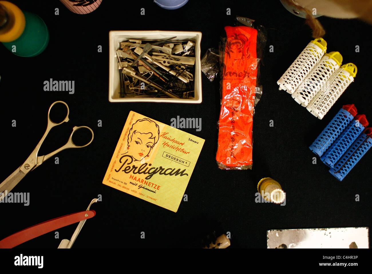 Hairdresser disguise tools of the 'Ministry for State Security' ( Stasi ) from the  former German Democratic - Stock Image