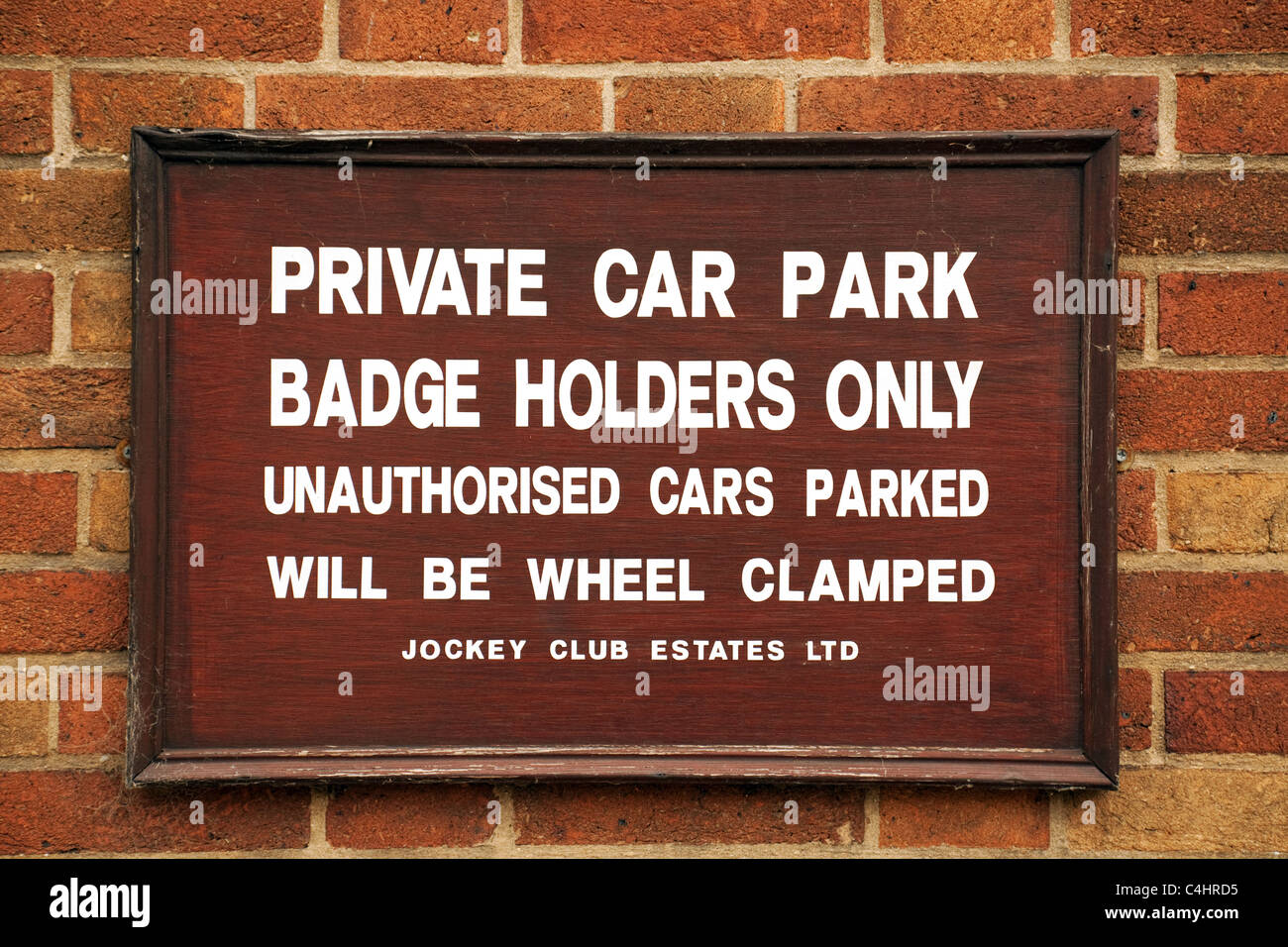 Private Car Park sign at the Jockey Club, Newmarket Suffolk UK Stock Photo