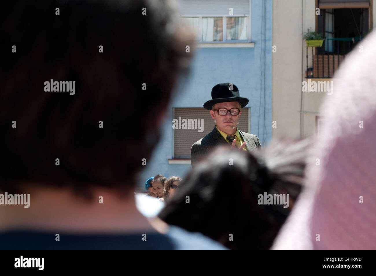 Performer, The Slampampers, San Isidro Festival, Plaza de la Corrala in Lavapies, Madrid, Spain - Stock Image