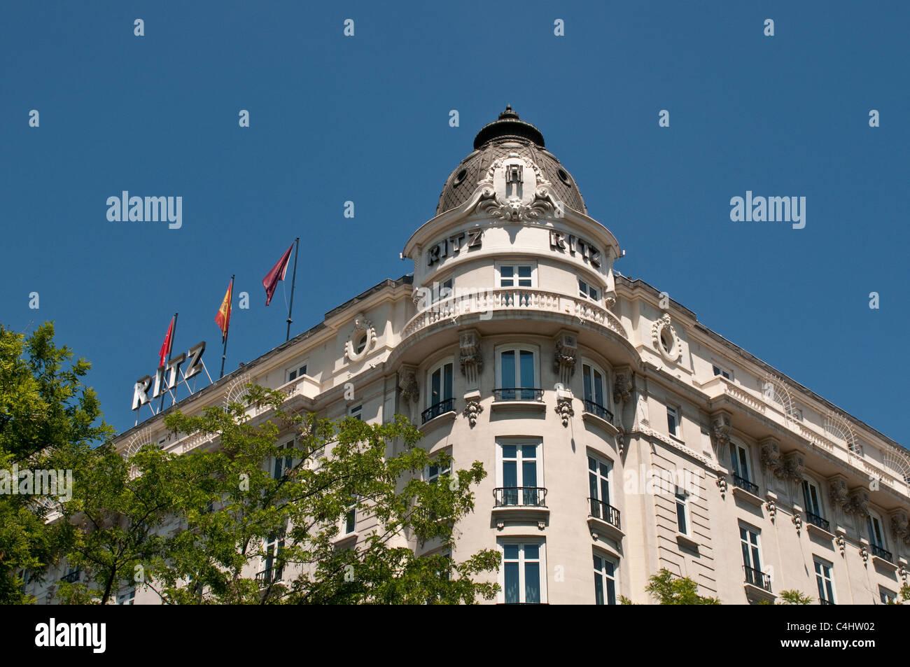 Ritz hotel, Paseo del Prado, Madrid, Spain - Stock Image