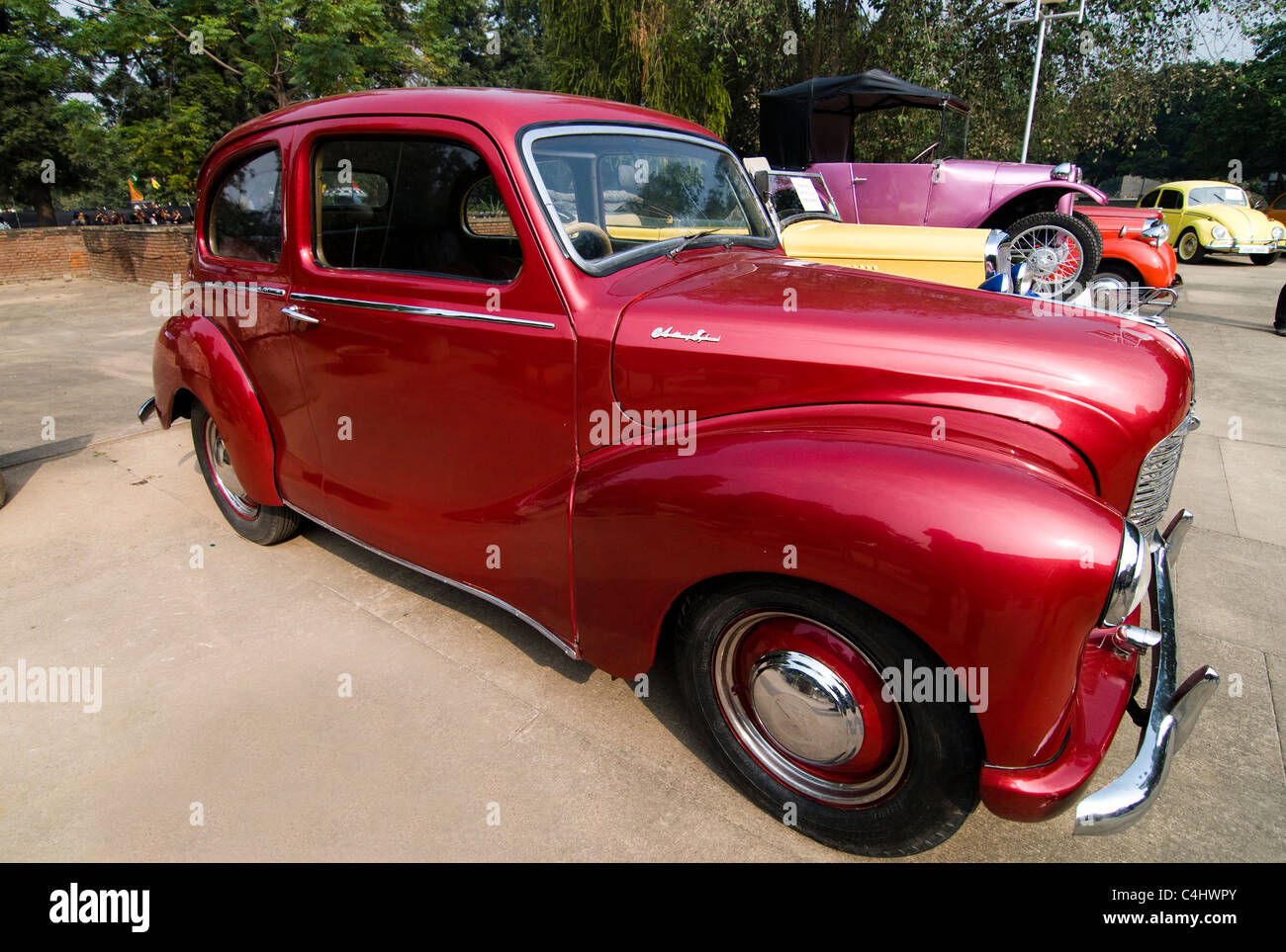Old vintage cars on display during an antique car exhibition in ...