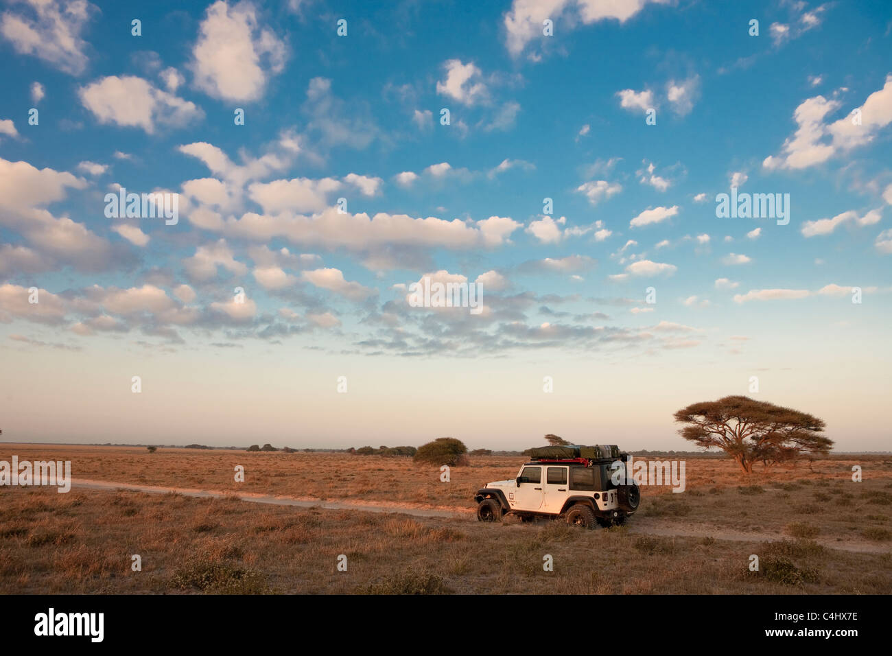 Off Road Vehicle in Deception Valley, Central Kalahari Game Reserve, Botswana - Stock Image