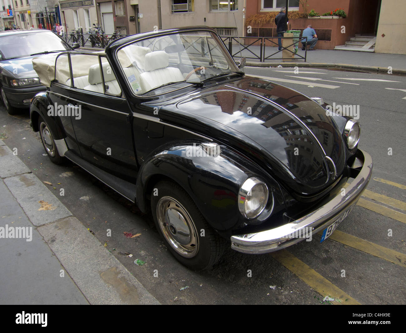 Paris, France, Volkswagen Beetle Car parked on Street - Stock Image