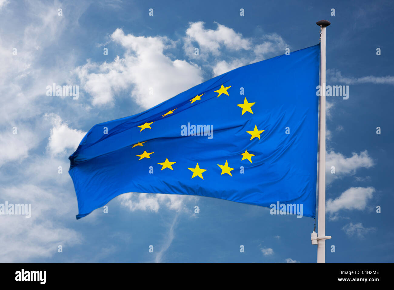 Detailansicht einer Flagge der Europäischen Union | Detail photo of the Flag from the European Union - Stock Image