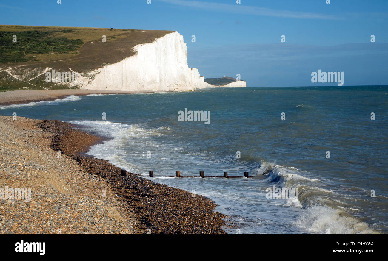Chalk cliffs of the Seven Sisters from Cuckmere Haven beach, East Sussex, England Stock Photo