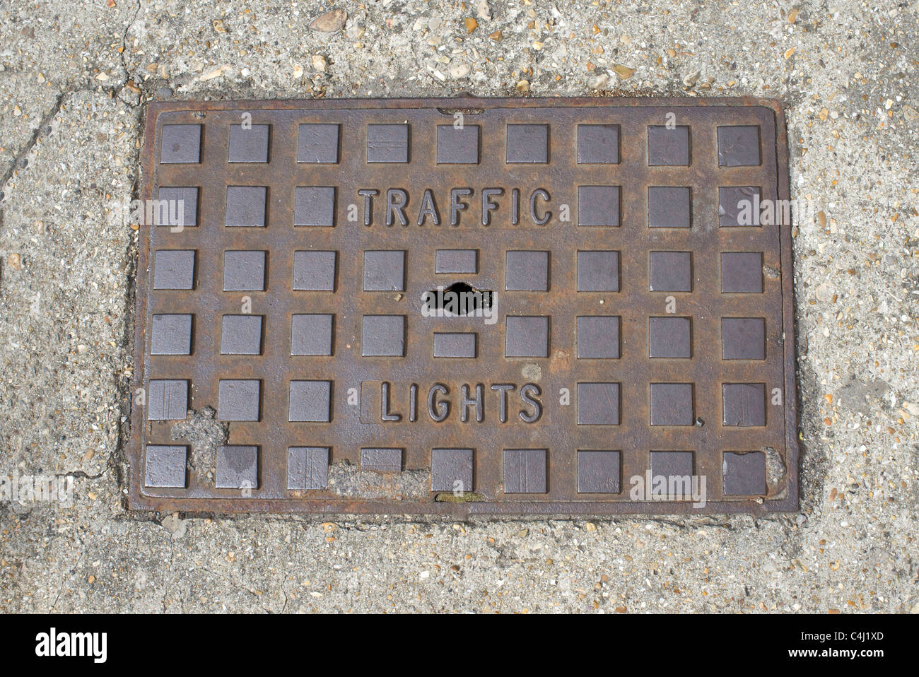 traffic lights manhole cover - Stock Image