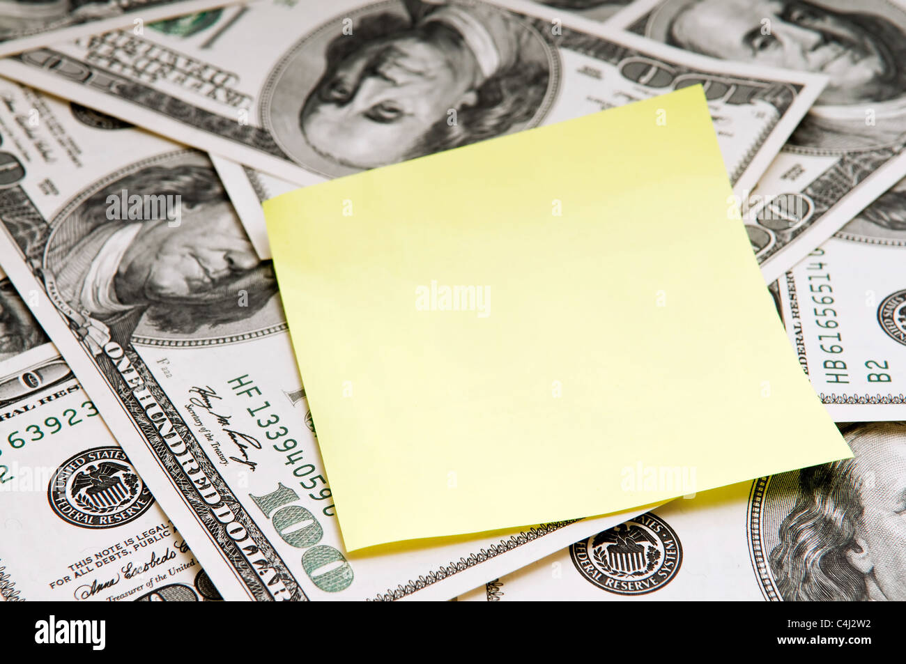 Empty Note card over american dollars - Stock Image