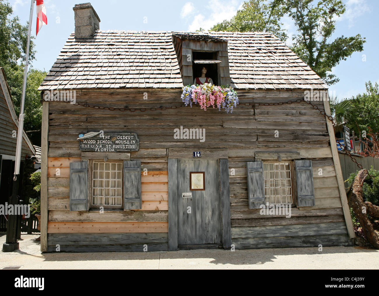 The oldest school house in Florida, USA, situated in St Augustine. - Stock Image