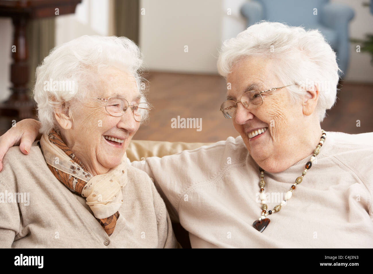 Two Senior Women Friends At Day Care Centre - Stock Image