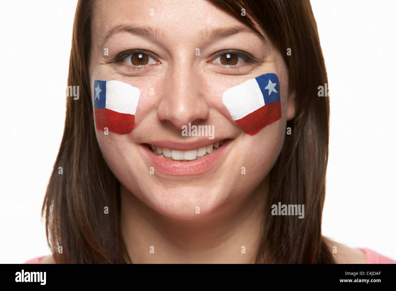 Young Female Sports Fan With Chilean Flag Painted On Face - Stock Image