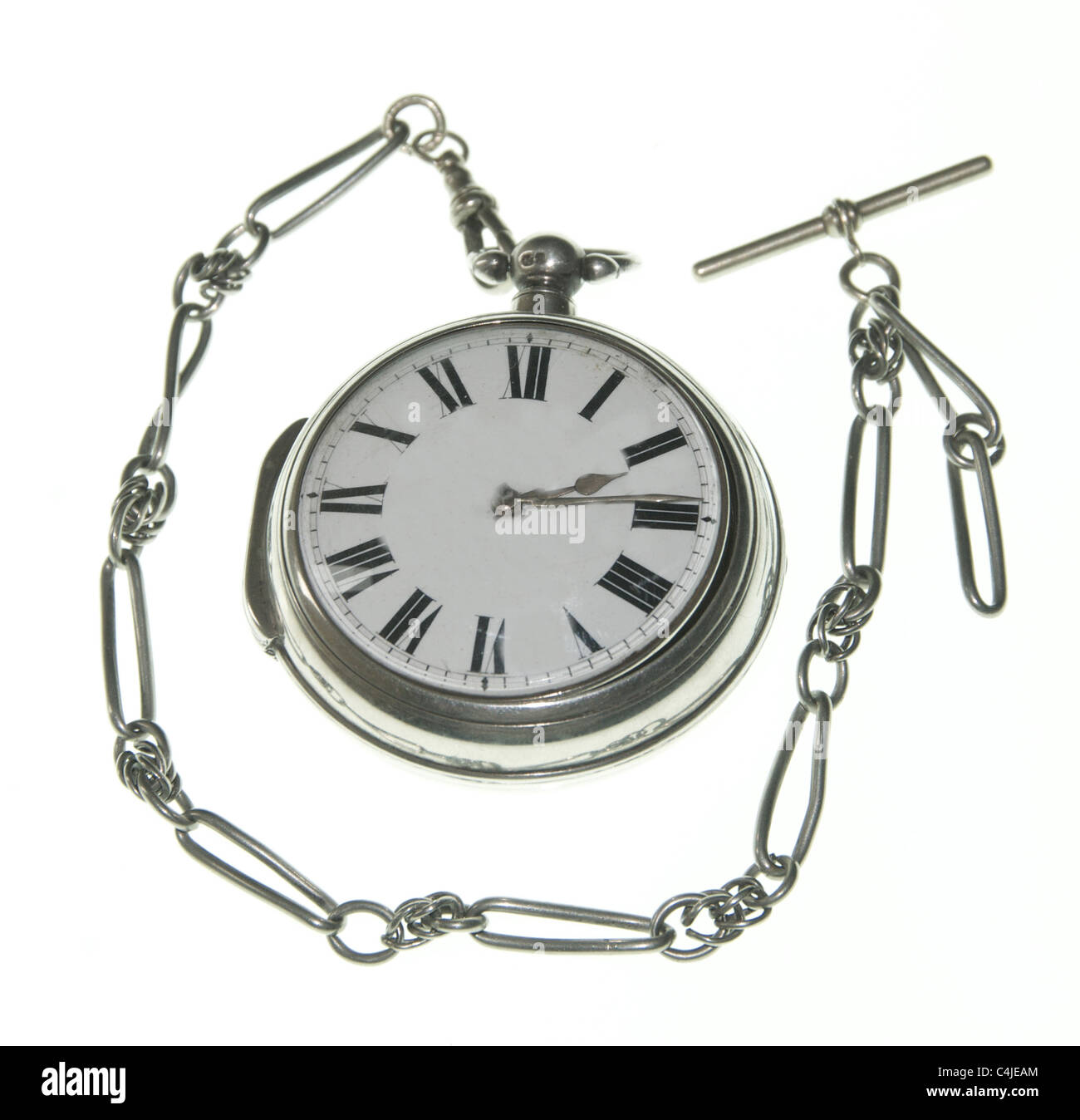 An antique silver pocket watch with a fob chain and case. - Stock Image