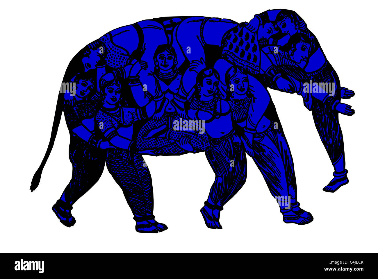 elephant out of pure women - Stock Image
