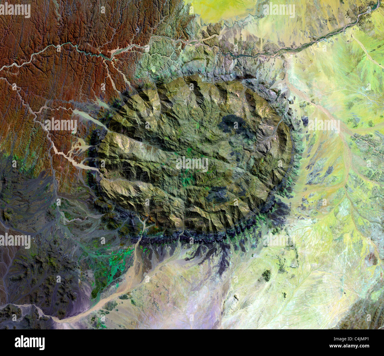 the Brandberg Massif is an exhumed granite intrusion as from space in this NASA satellite image. - Stock Image