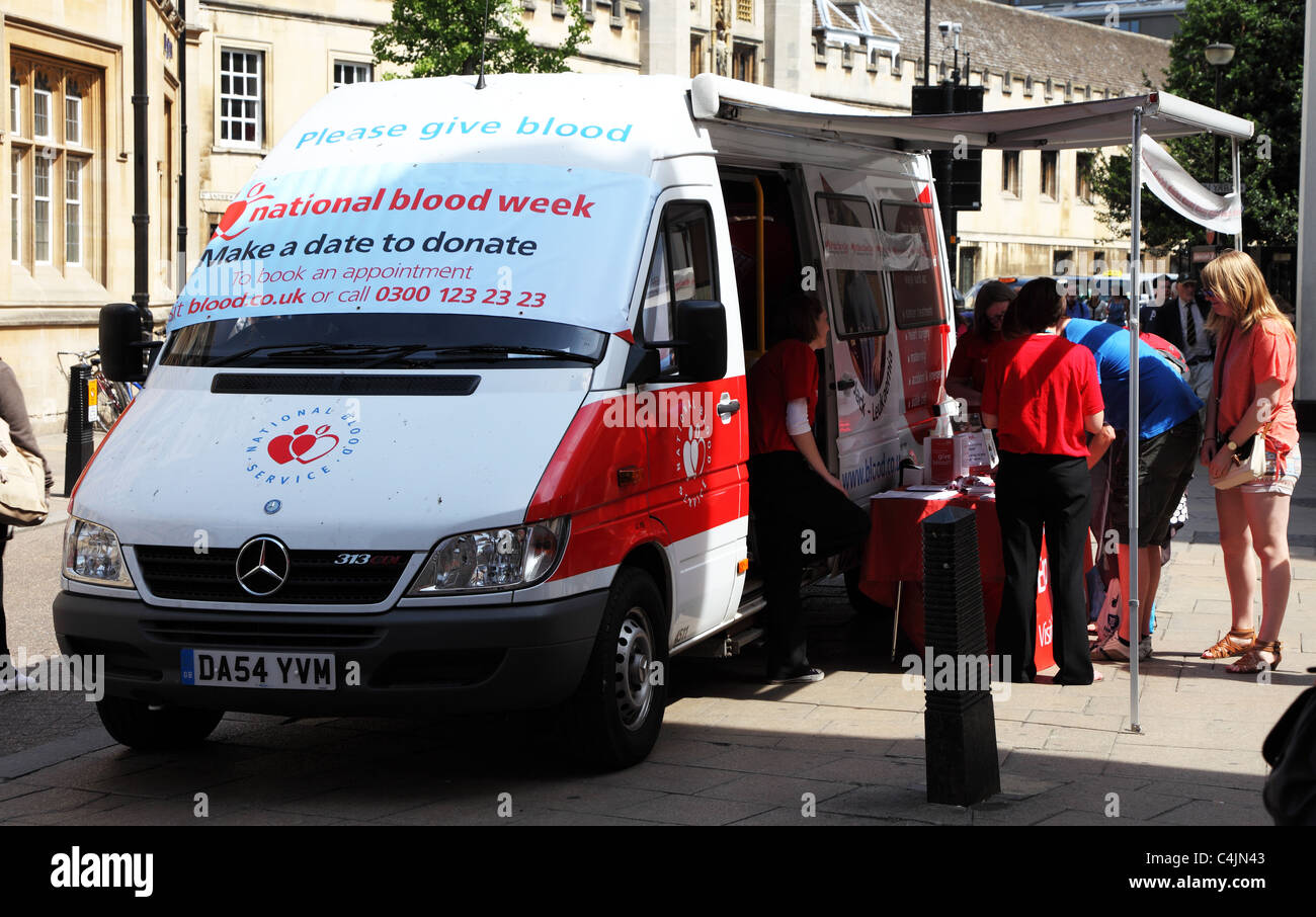 Drive to collect blood for transfusion service Cambridge England - Stock Image