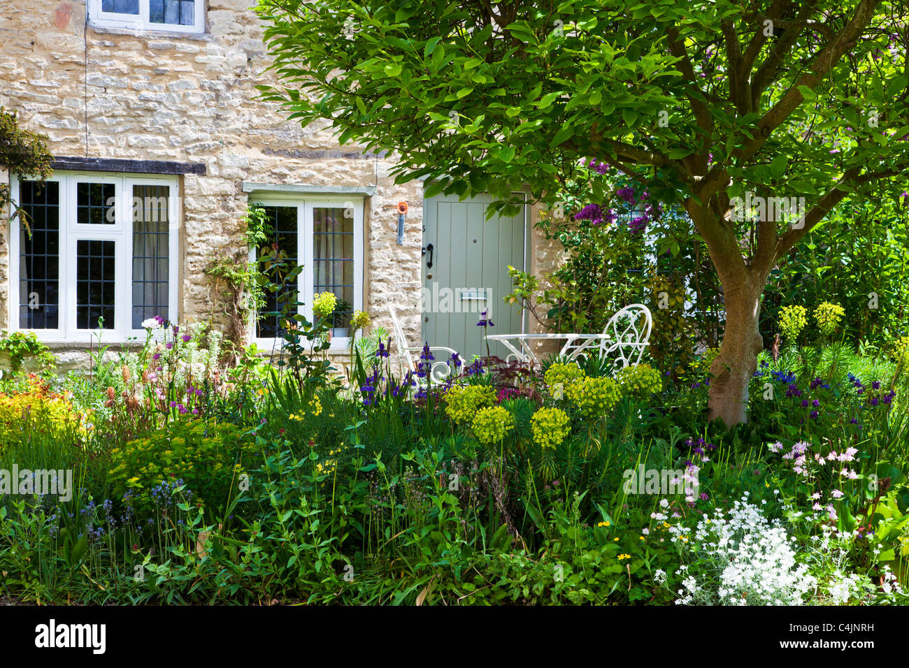A Pretty English Country Front Garden In The Cotswolds Spring Or Early Summer