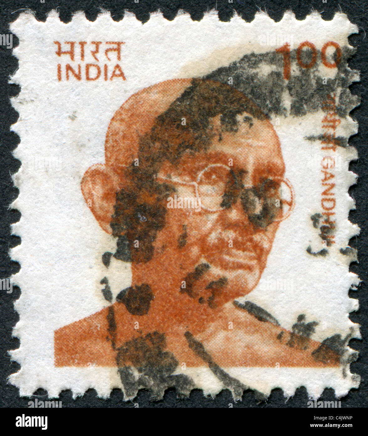 INDIA 1991: A stamp printed in India, depicted Mohandas Karamchand Gandhi - Stock Image