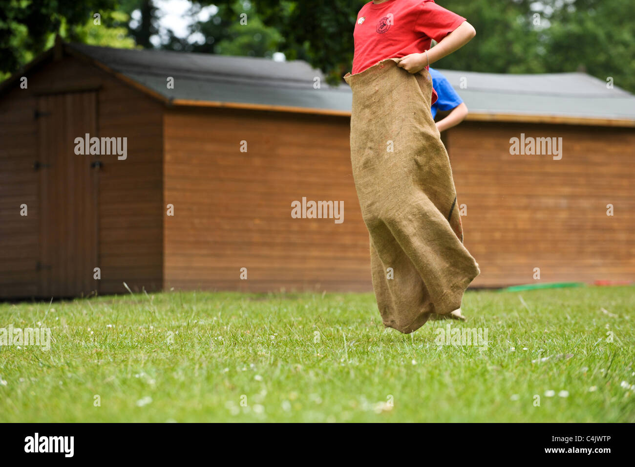 two school children in a traditional sack race at school sports day jumping up off the grass in  red and blue house - Stock Image