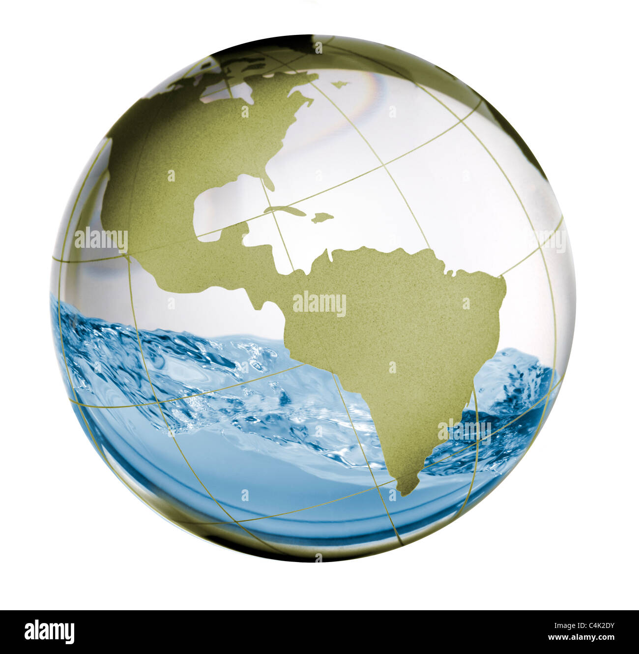 a clear glass globe with water sloshing inside depicting earth's water situation or capacity. - Stock Image