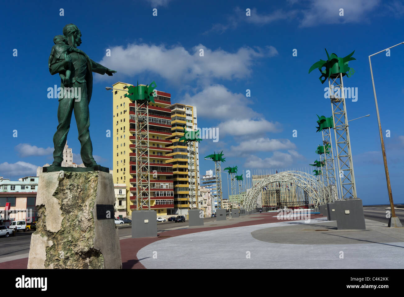 José Martí Anti-Imperialist Plaza, the statue of Jose Marti seems to be pointing to the U.S. Special Interests - Stock Image