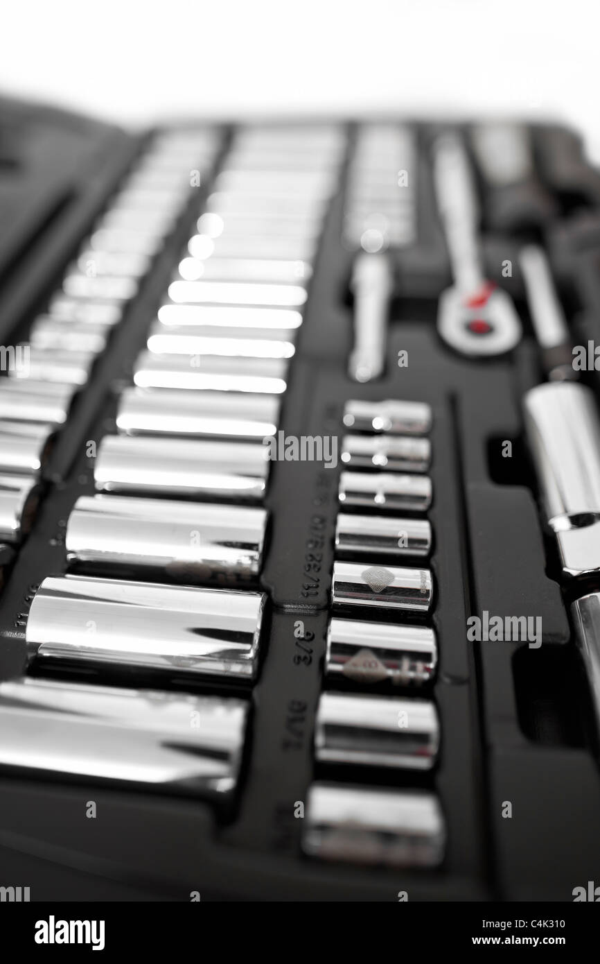 Socket wrench set in case. - Stock Image