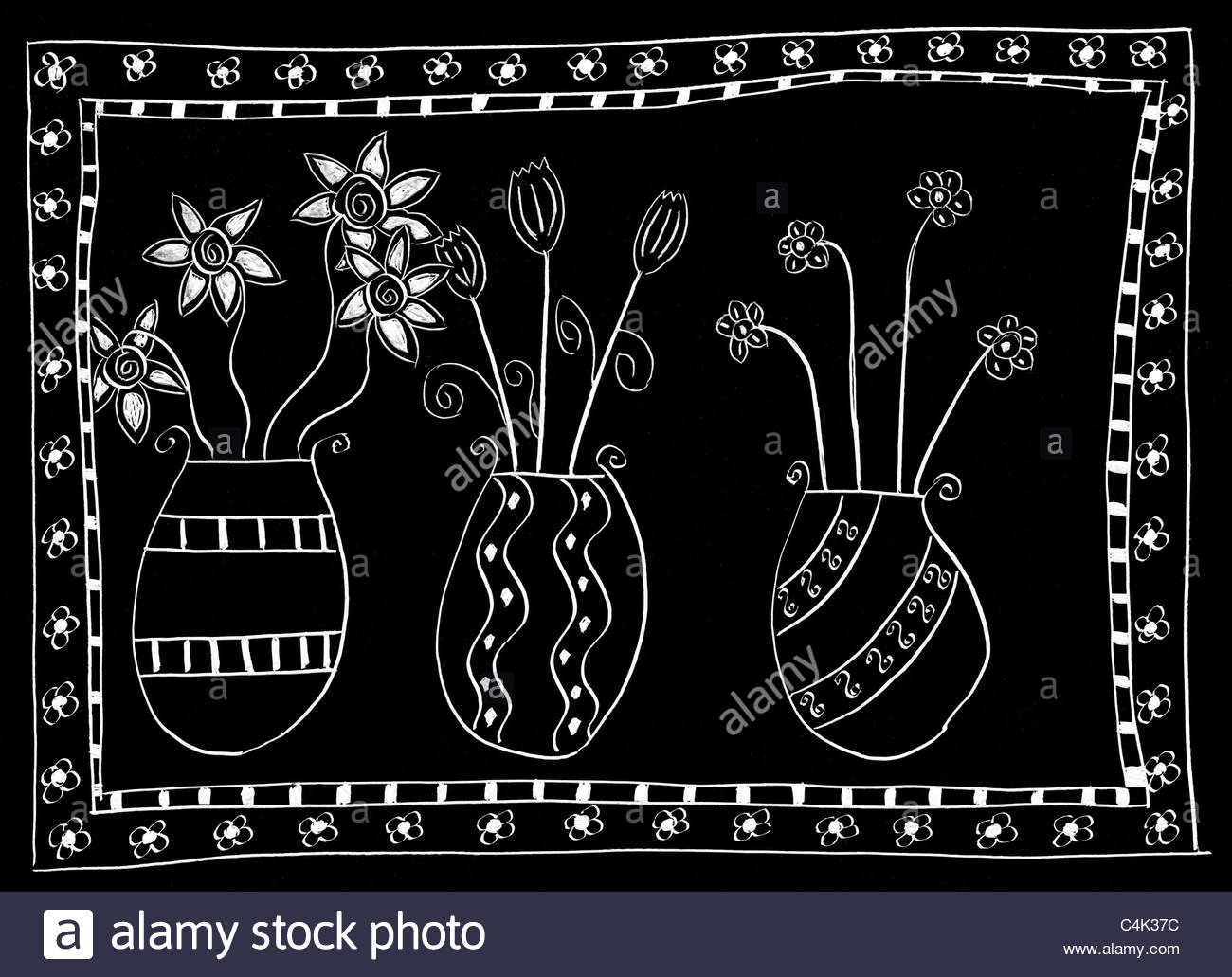 Black and white scraper of three vases with flowers, with a flower border - Stock Image