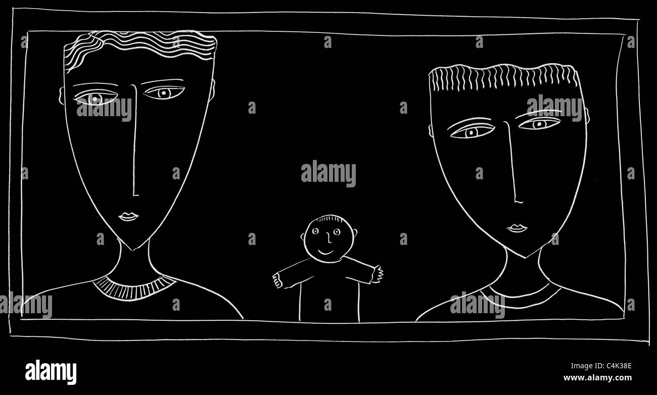 Black and white scraper of 3 x boys heads - Stock Image