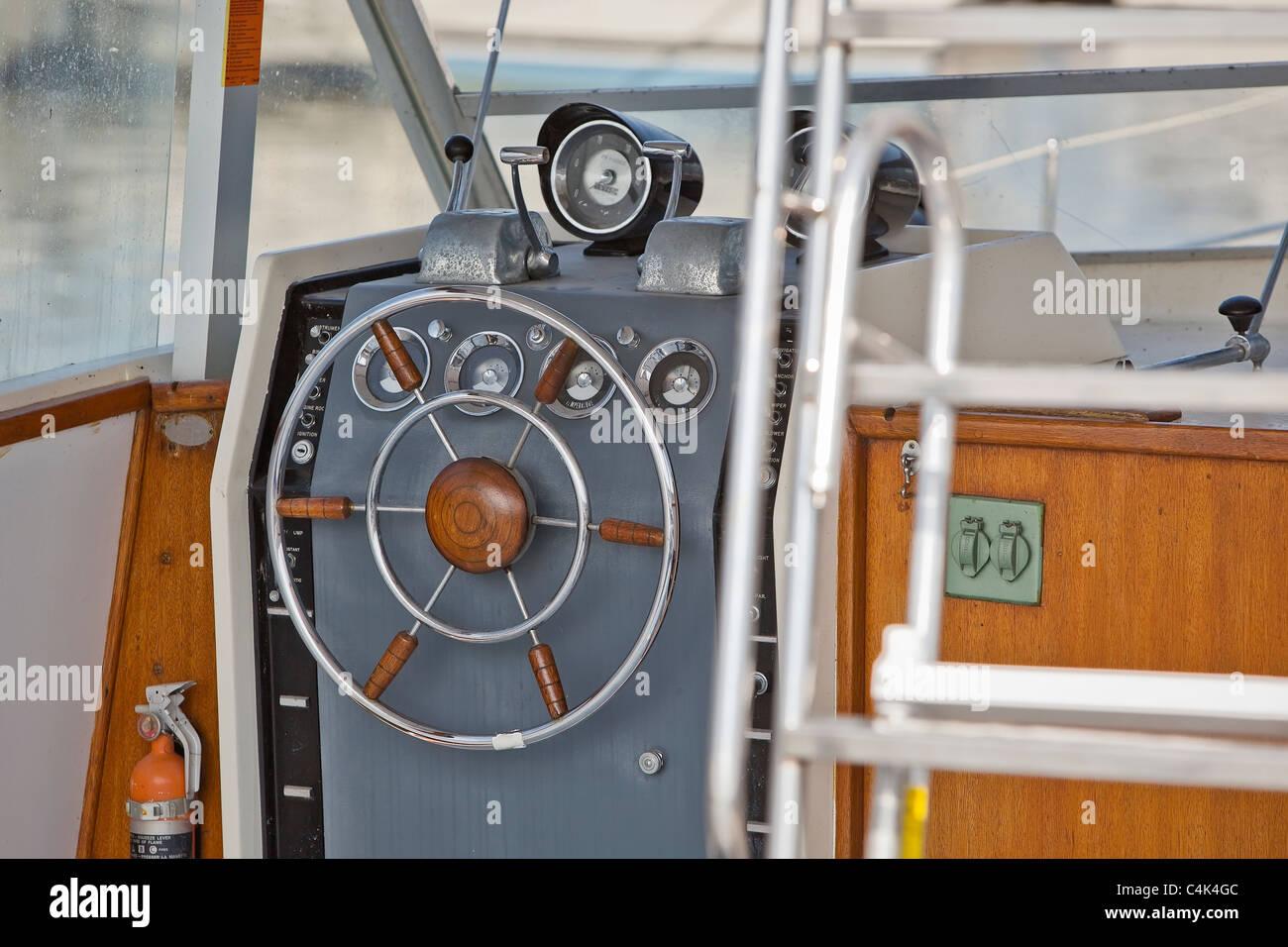 Vintage boat cockpit. - Stock Image