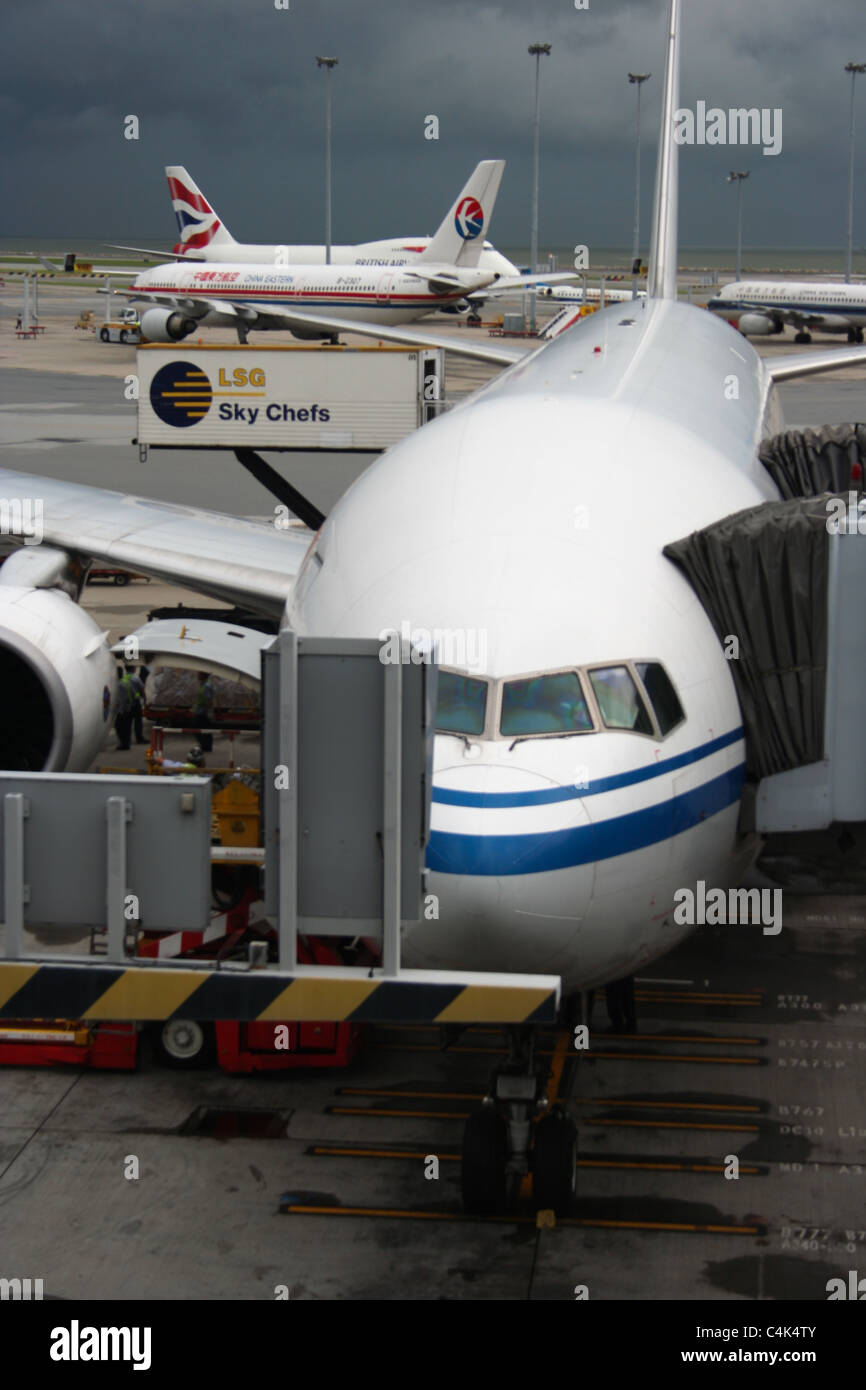 China Eastern plane chek lap kok airport hong kong - Stock Image