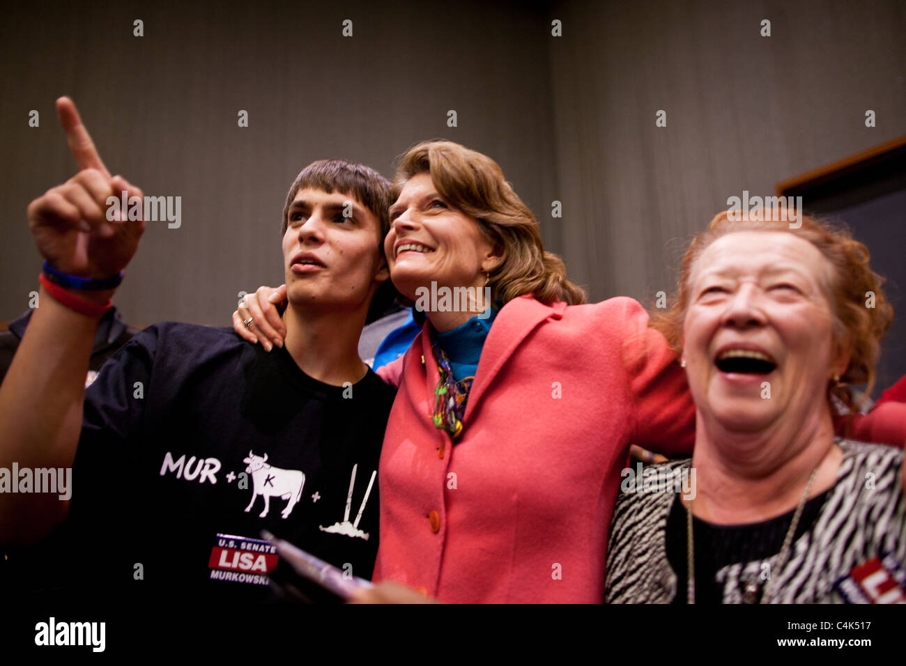 Incumbent write-in candidate for US Senate Lisa Murkowski and family