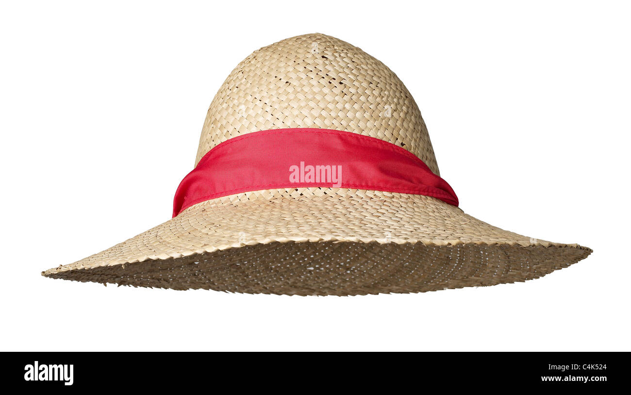 Straw Hat Sun garden bonnet with red ribbon - Stock Image