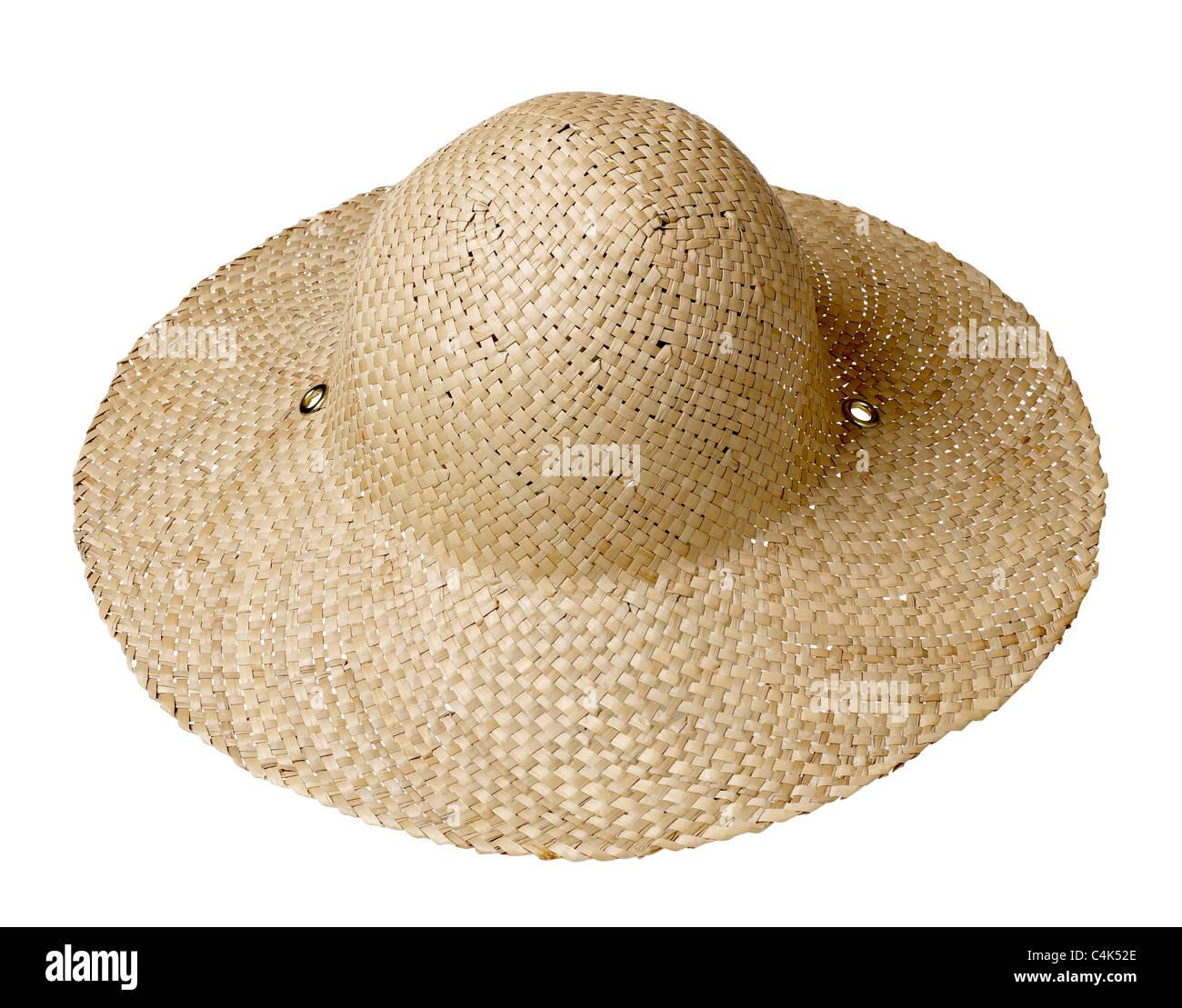 Straw Hat Sun garden bonnet - Stock Image