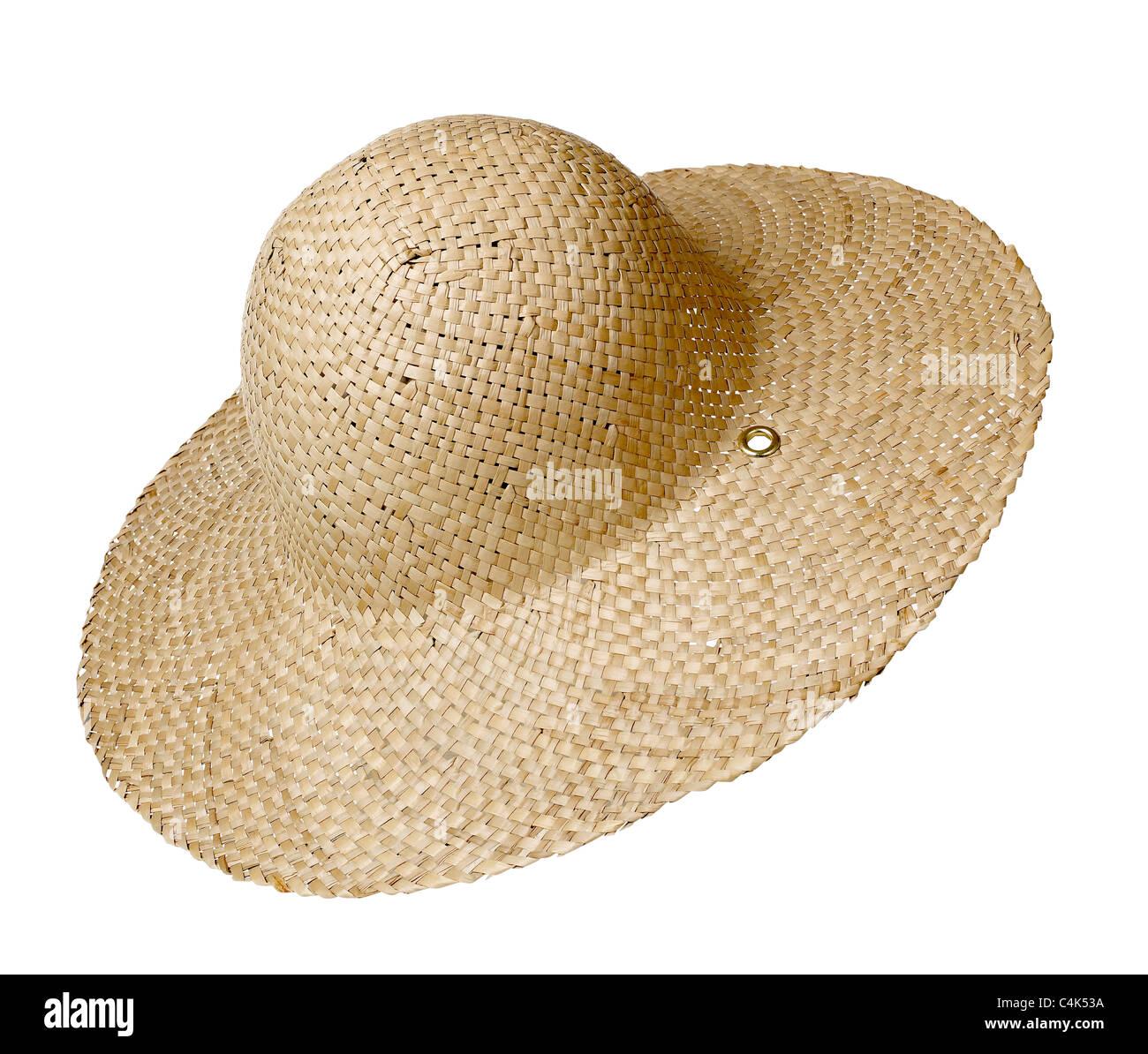 Straw Hat Sun garden bonnet with - Stock Image