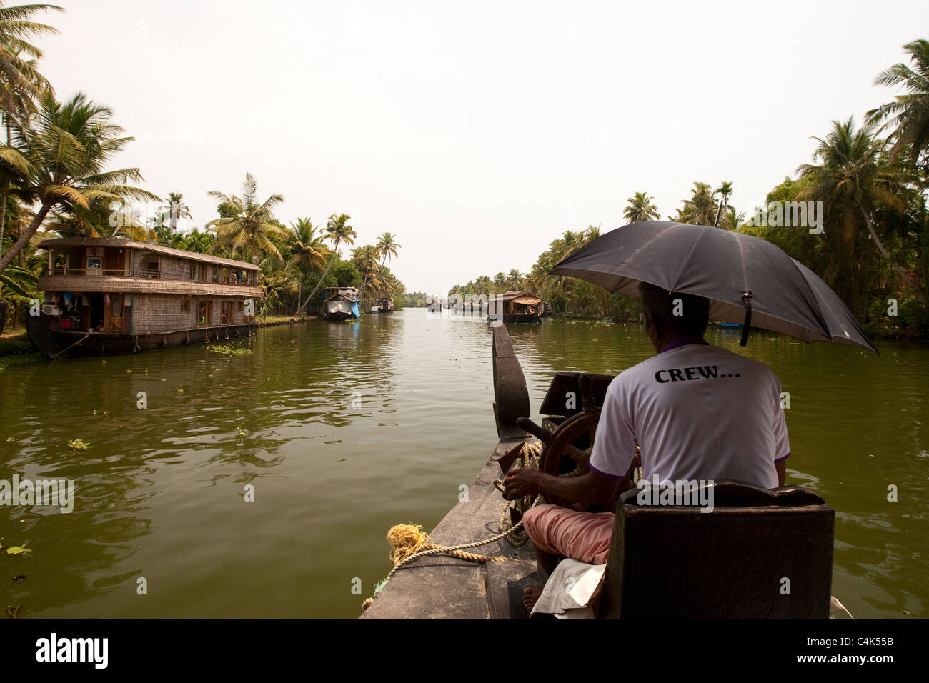 Cruising in the backwaters of Alleppey - Stock Image