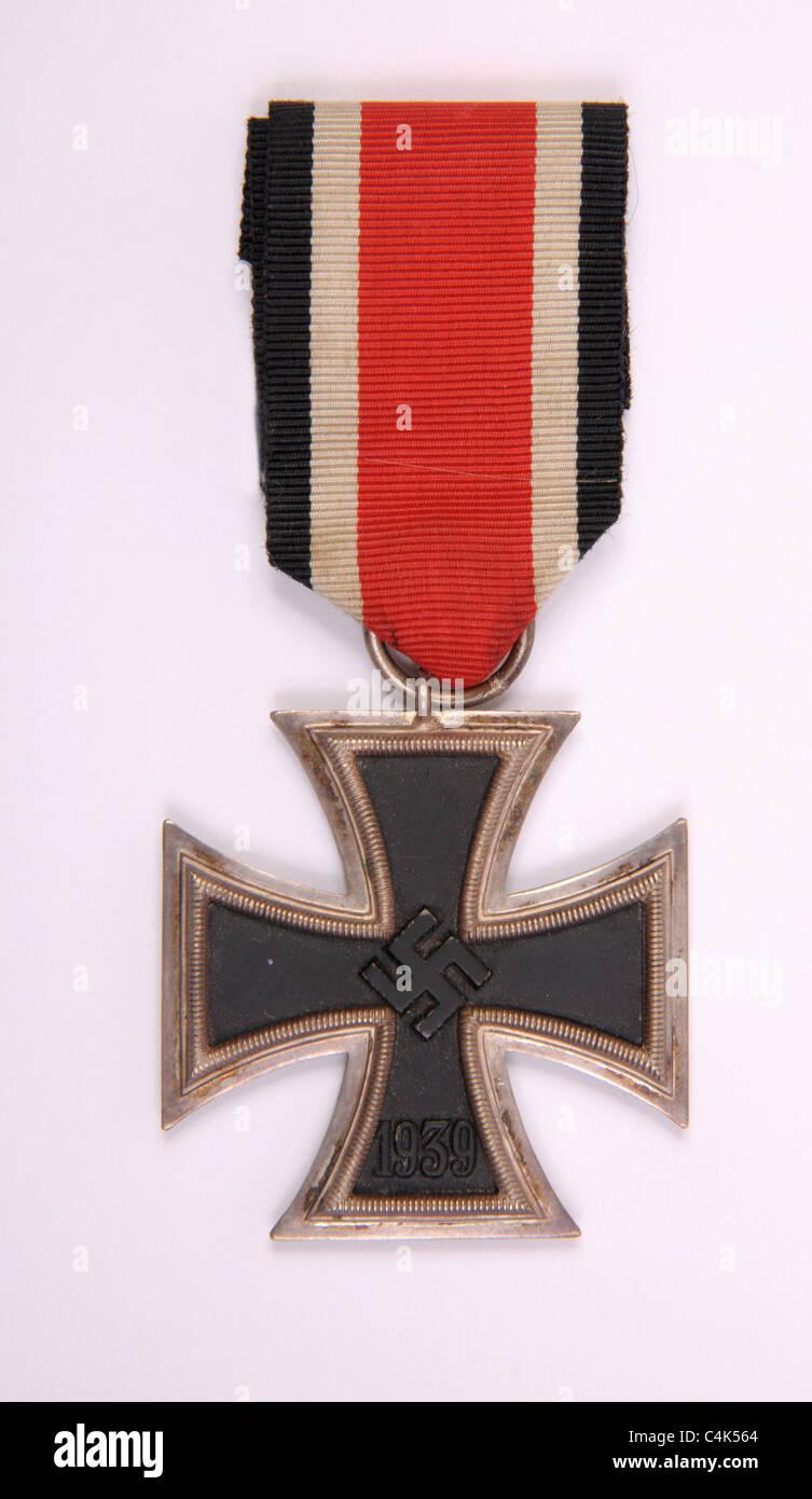 WWII 1939 German medal Eisernes Kreuz 2. Klasse Iron Cross 2nd class with original ribbon. - Stock Image