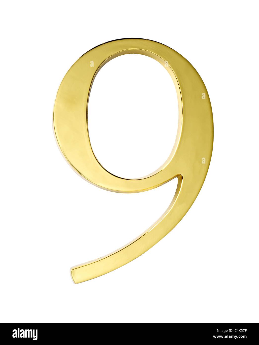 gold metal number nine 9 - Stock Image