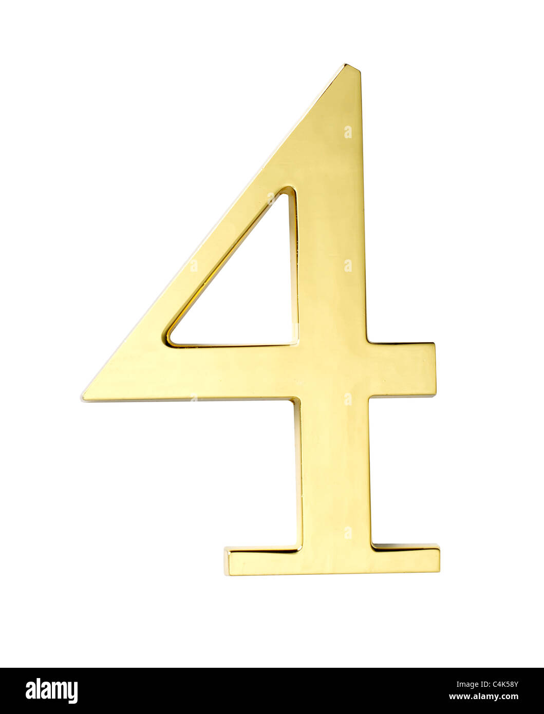 gold metal number four 4 - Stock Image