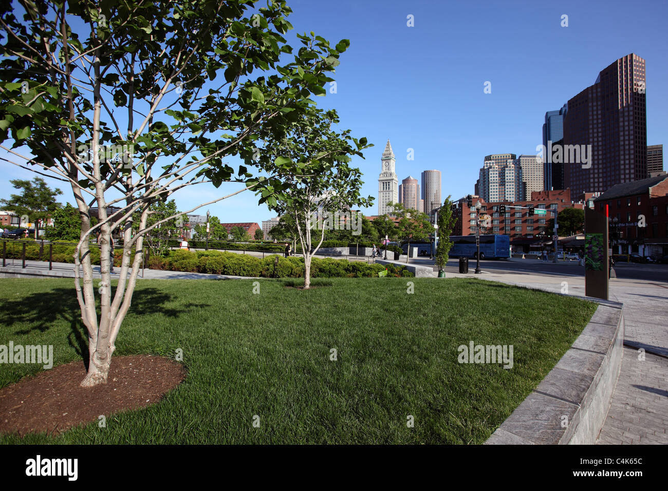 Open space on the Rose Kennedy Greenway, Boston, Massachusetts - Stock Image