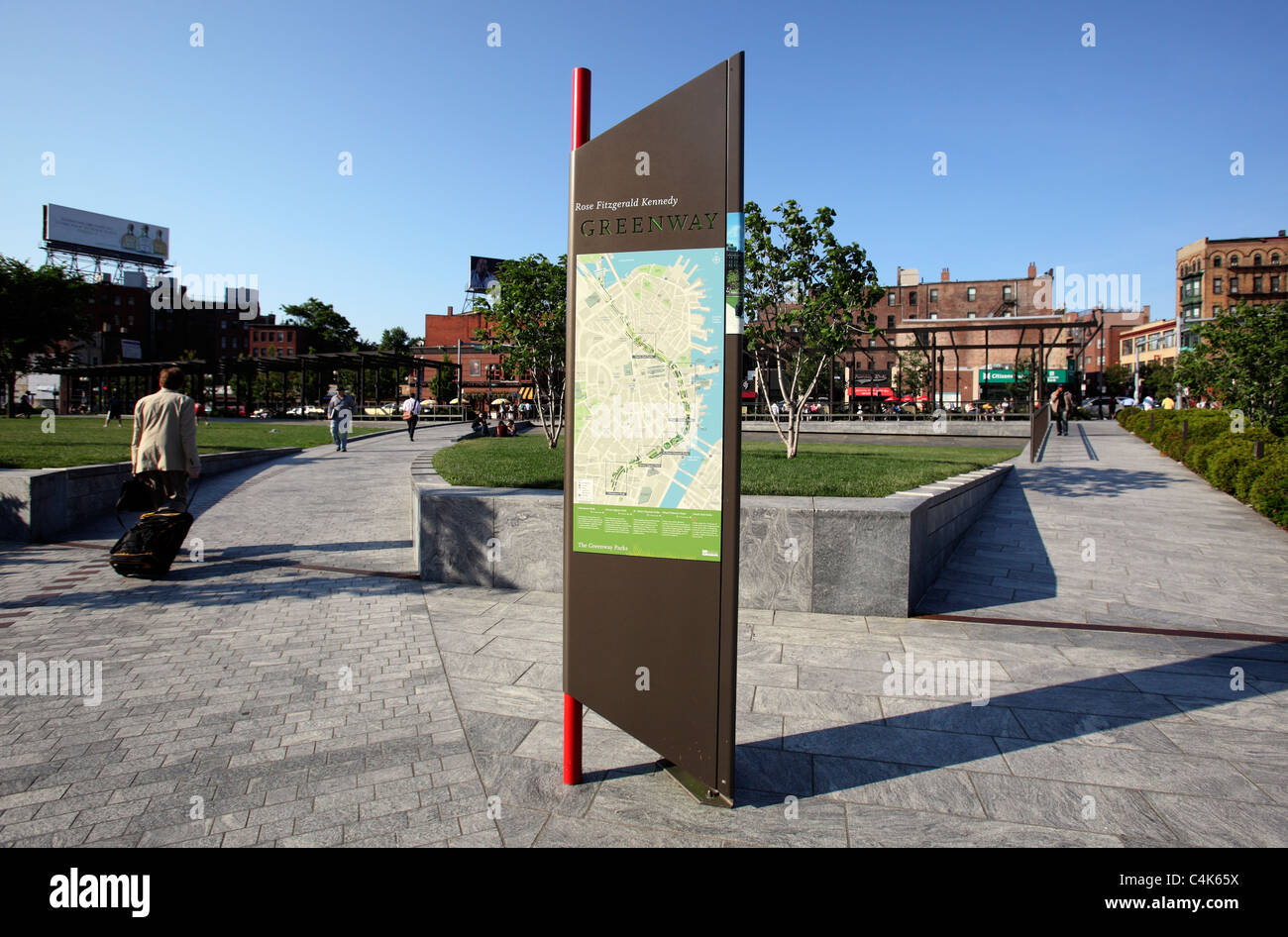 Open space and walkways leading to the North End on the Rose Kennedy Greenway, Boston, Massachusetts - Stock Image